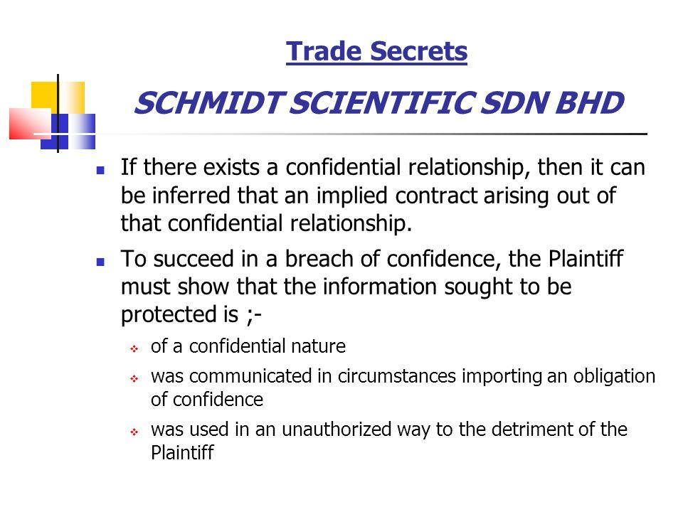 Trade Secrets SCHMIDT SCIENTIFIC SDN BHD