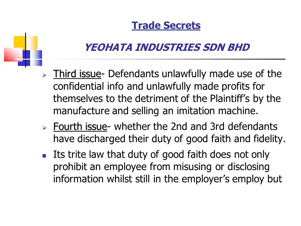 Trade Secrets YEOHATA INDUSTRIES SDN BHD