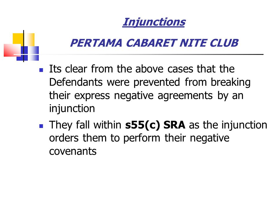 Injunctions PERTAMA CABARET NITE CLUB