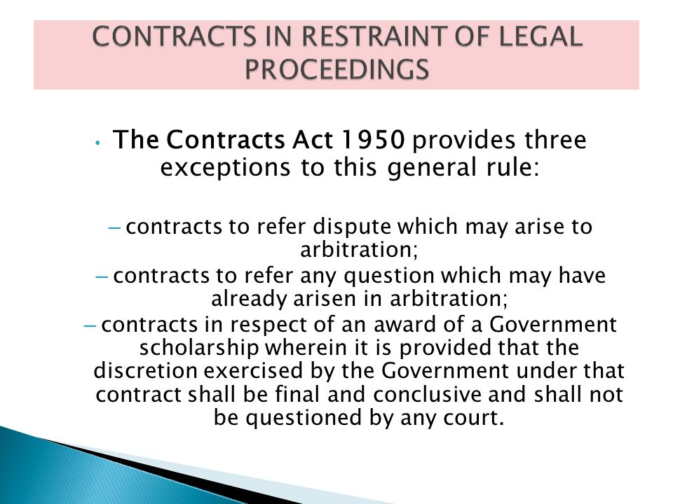 CONTRACTS IN RESTRAINT OF LEGAL PROCEEDINGS
