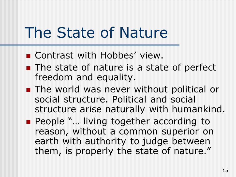 The State of Nature Contrast with Hobbes' view.