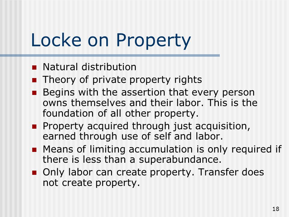 Locke on Property Natural distribution