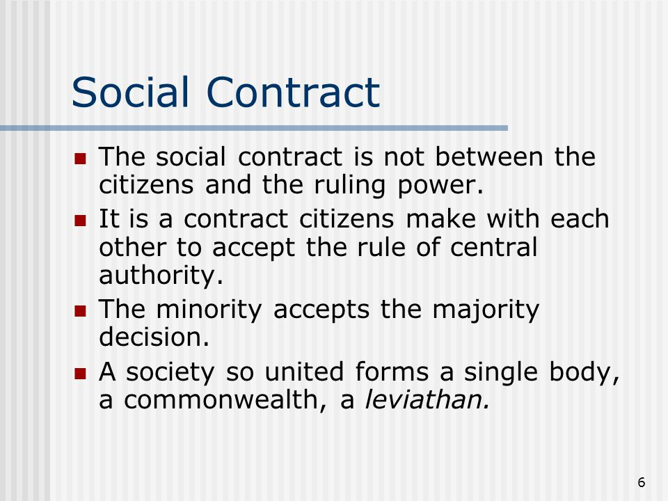 Social Contract The social contract is not between the citizens and the ruling power.