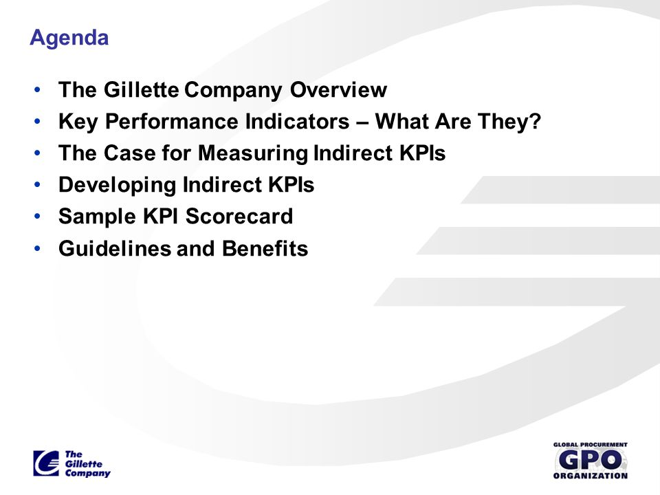 Agenda The Gillette Company Overview. Key Performance Indicators – What Are They The Case for Measuring Indirect KPIs.