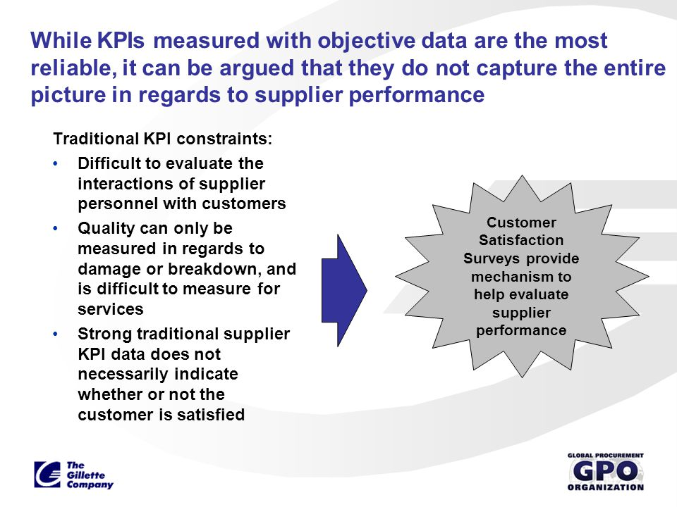 While KPIs measured with objective data are the most reliable, it can be argued that they do not capture the entire picture in regards to supplier performance