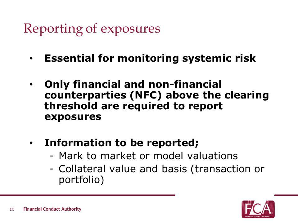 Reporting of exposures