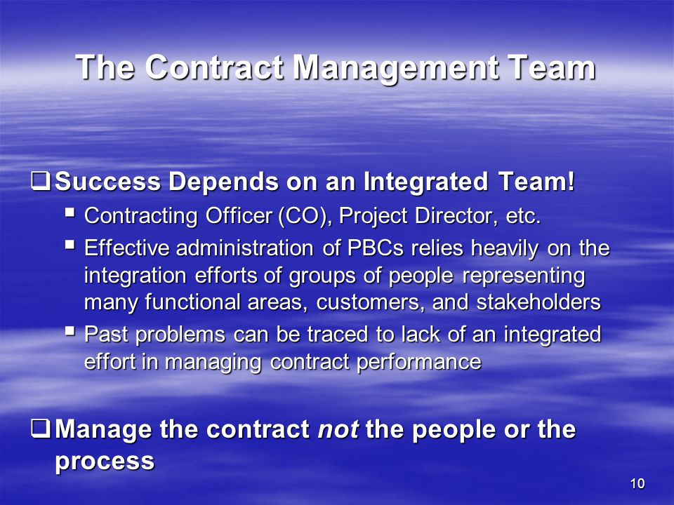 The Contract Management Team