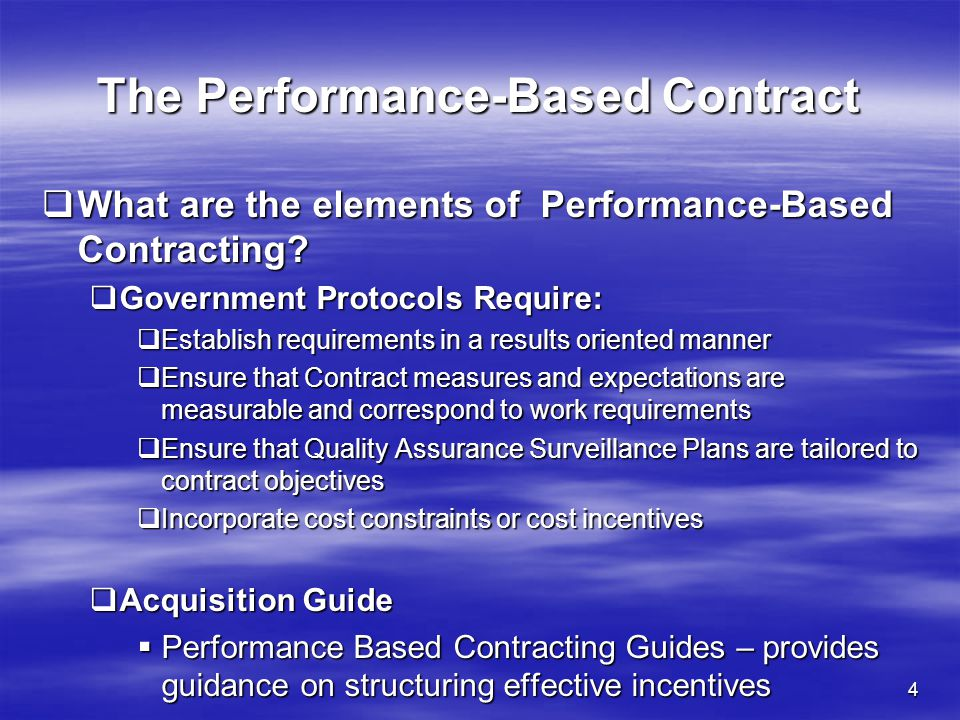 The Performance-Based Contract