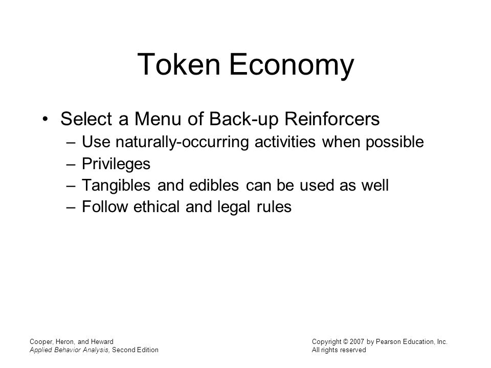 Token Economy Select a Menu of Back-up Reinforcers