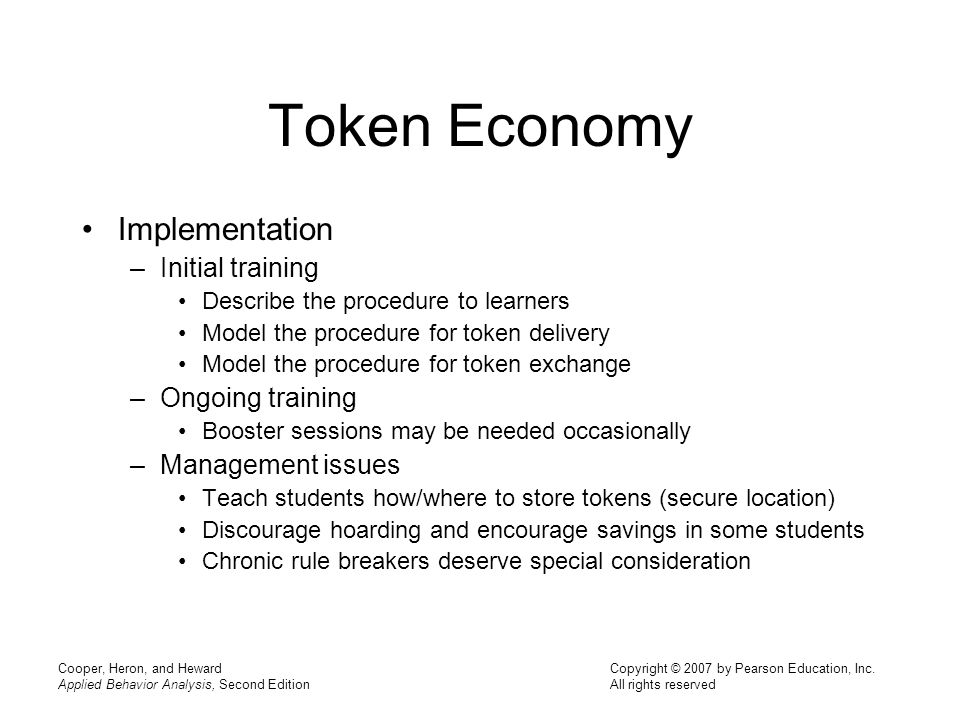 Token Economy Implementation Initial training Ongoing training