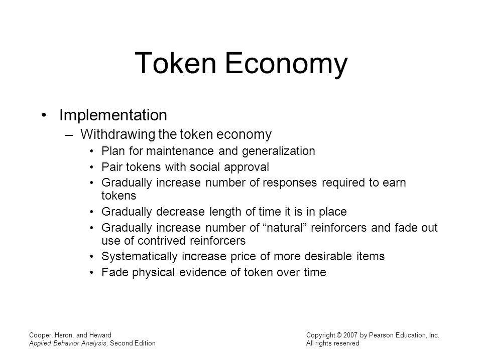 Token Economy Implementation Withdrawing the token economy