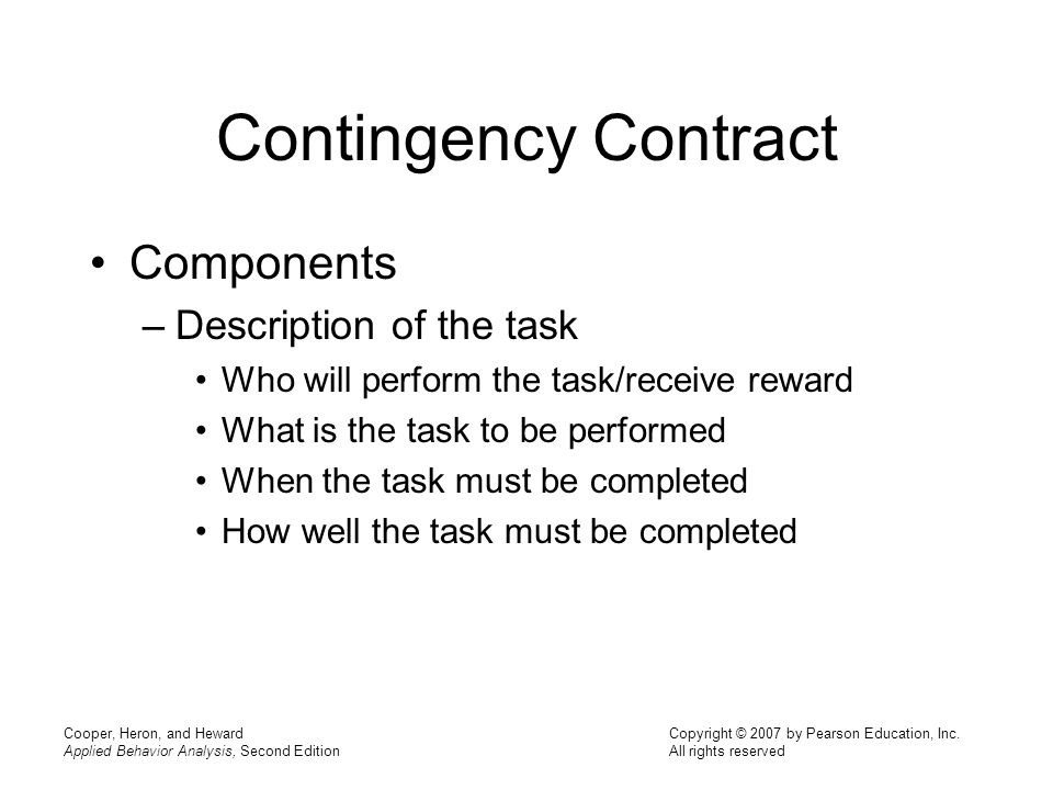 Contingency Contract Components Description of the task