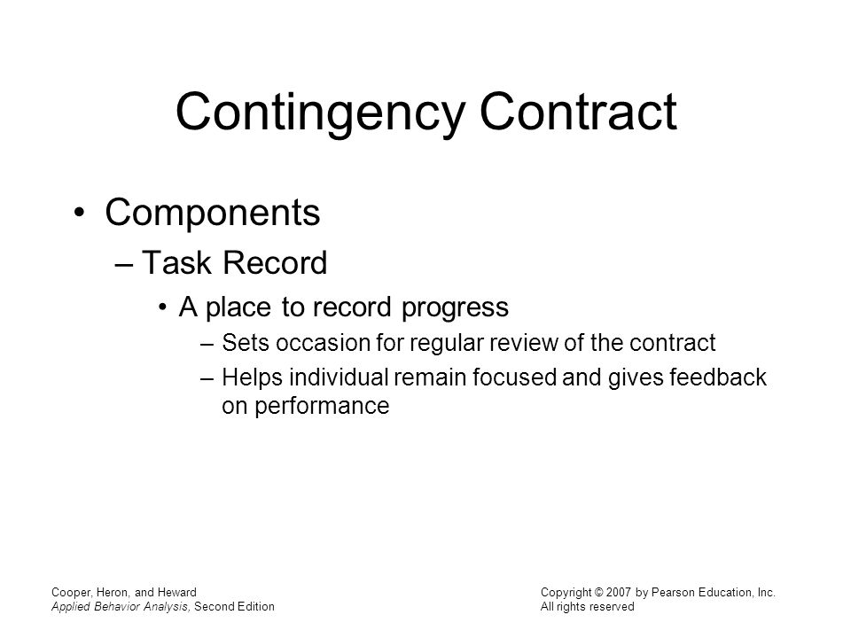 Contingency Contract Components Task Record A place to record progress