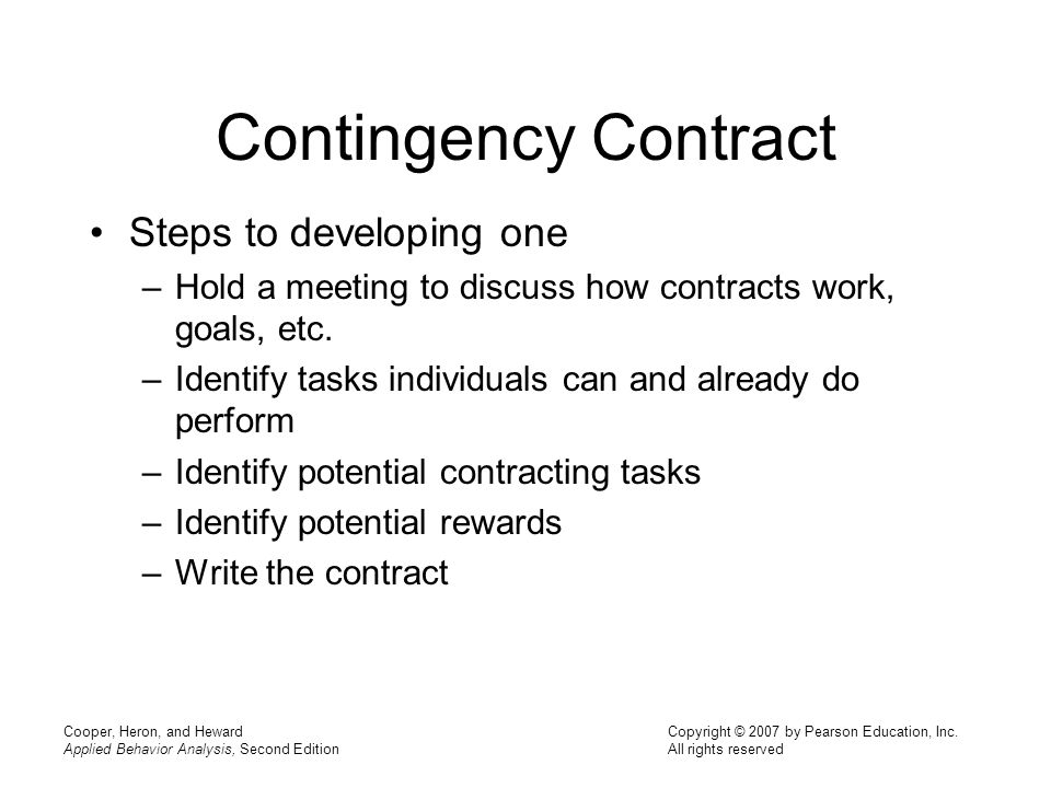 Contingency Contract Steps to developing one