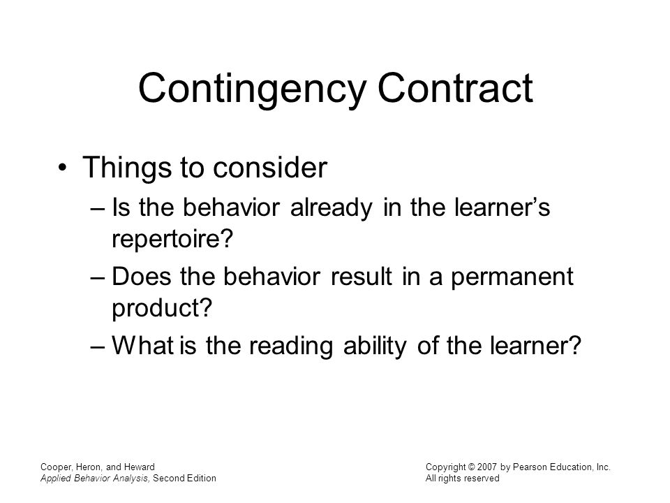 Contingency Contract Things to consider