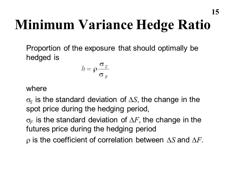 Minimum Variance Hedge Ratio
