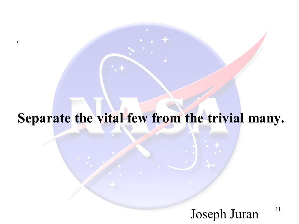 Separate the vital few from the trivial many.