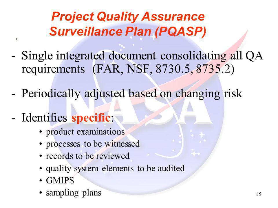 Project Quality Assurance Surveillance Plan (PQASP)