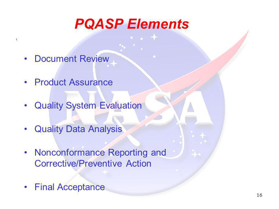 PQASP Elements Document Review Product Assurance