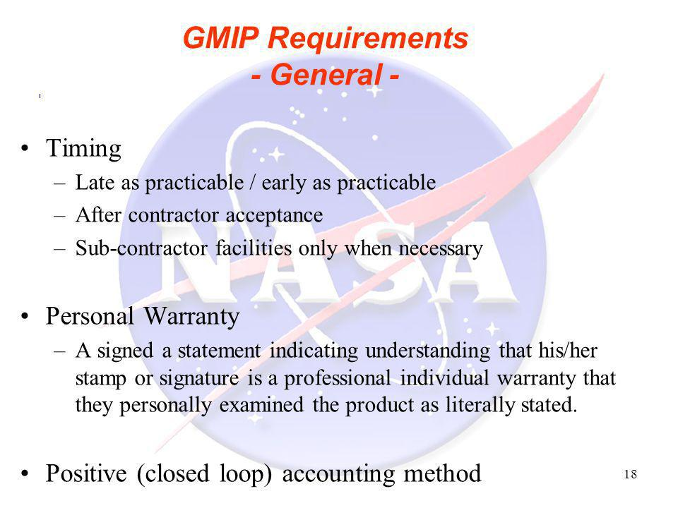 GMIP Requirements - General -