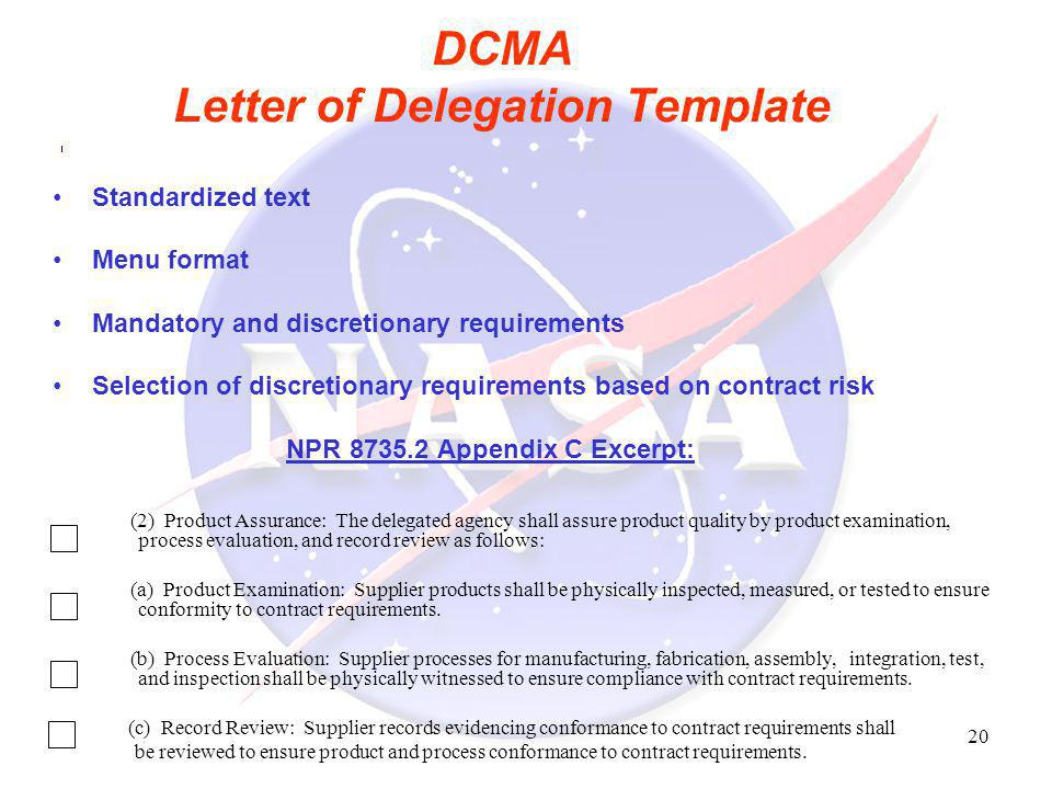 DCMA Letter of Delegation Template