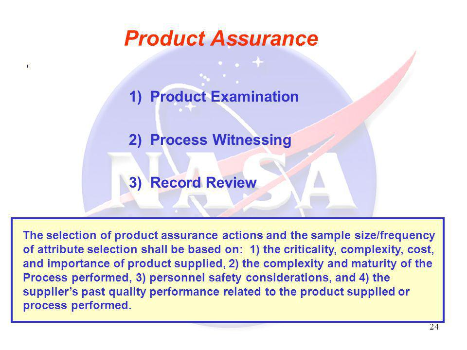 Product Assurance 1) Product Examination 2) Process Witnessing
