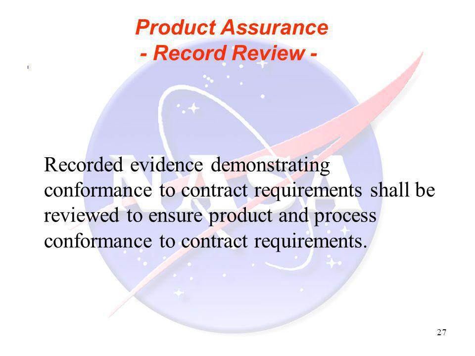 Product Assurance - Record Review -