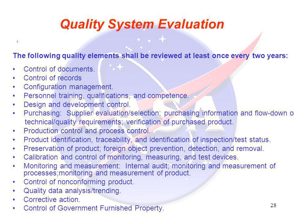Quality System Evaluation