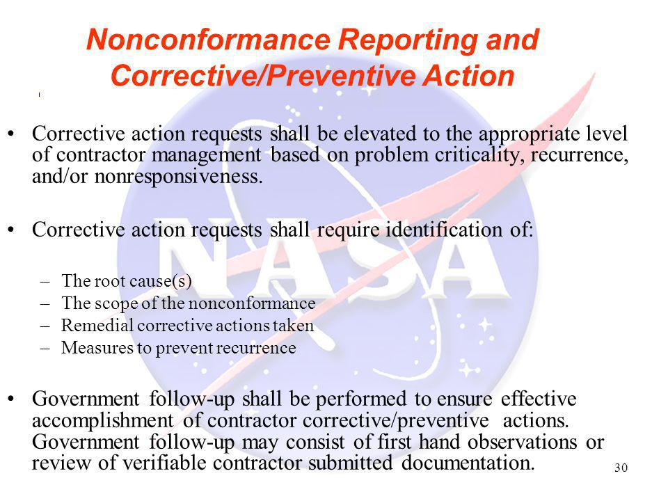 Nonconformance Reporting and Corrective/Preventive Action