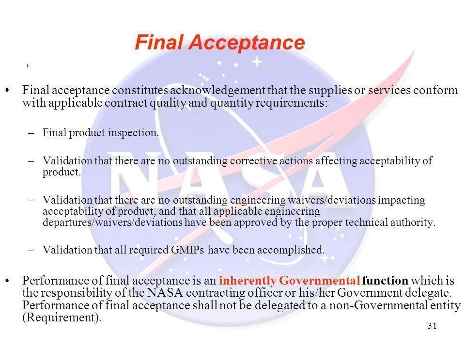 Final Acceptance