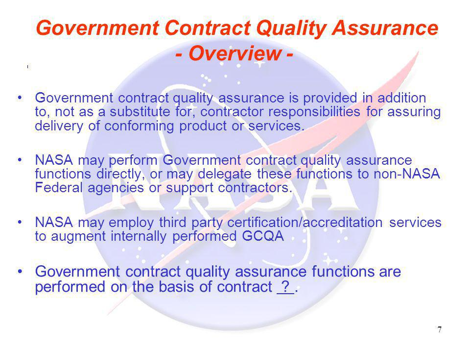 Government Contract Quality Assurance - Overview -