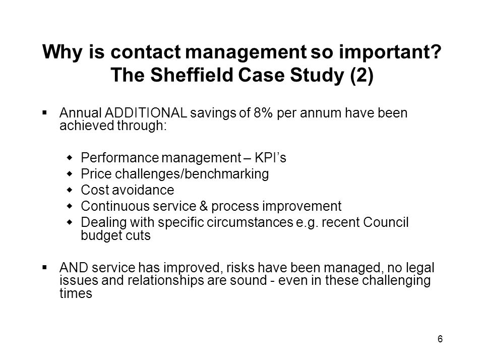 Why is contact management so important The Sheffield Case Study (2)
