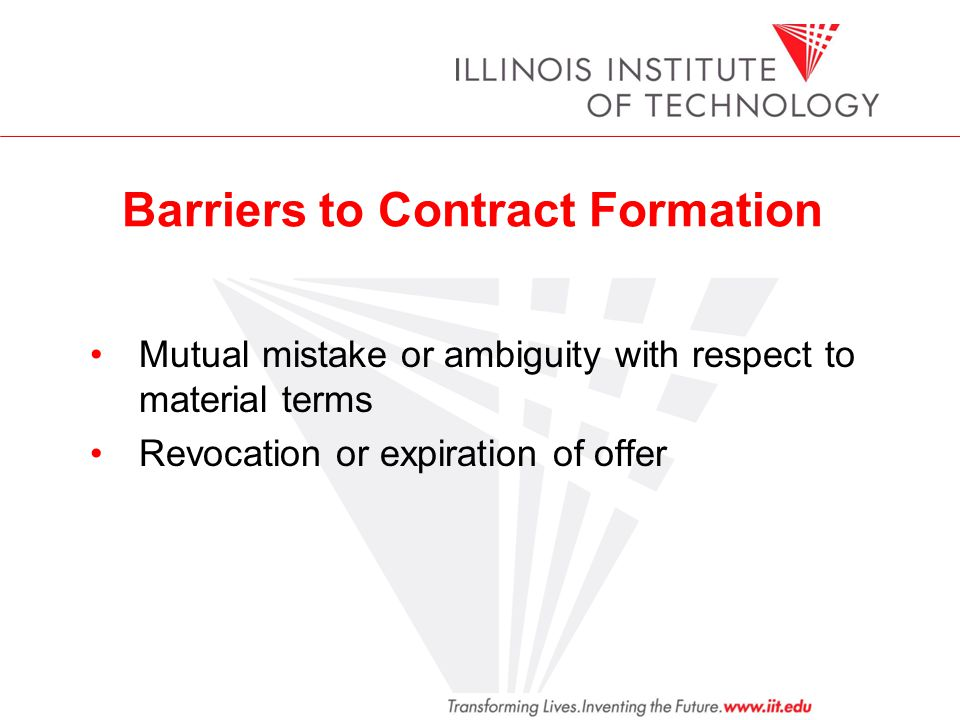 Barriers to Contract Formation