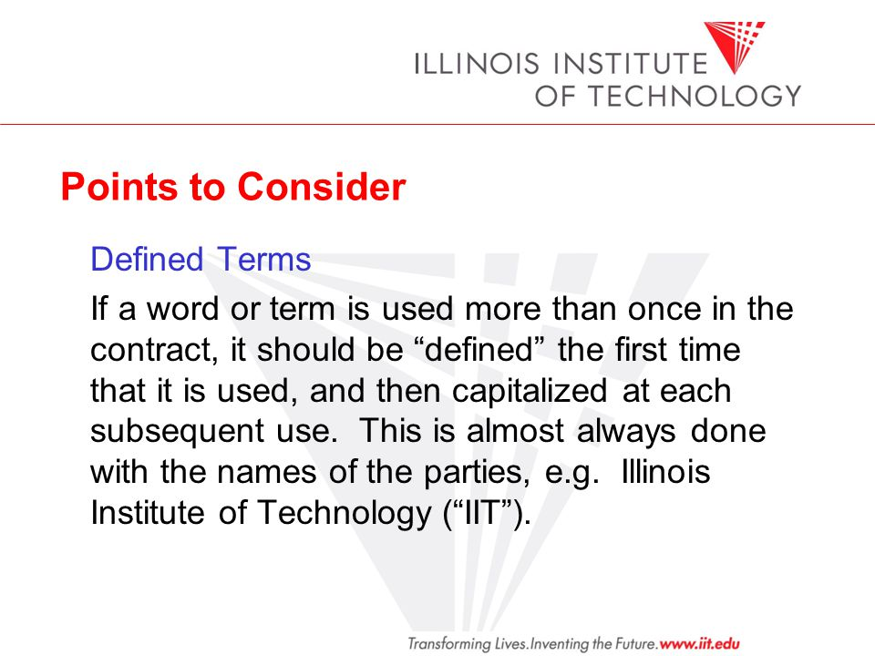 Points to Consider Defined Terms.