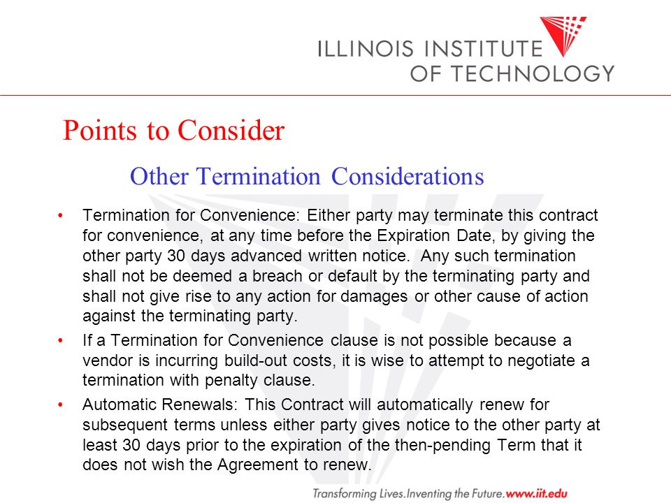 Points to Consider Other Termination Considerations
