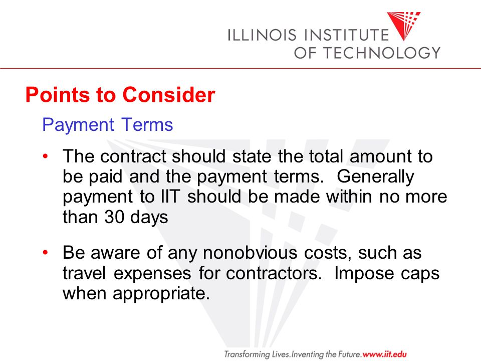 Points to Consider Payment Terms