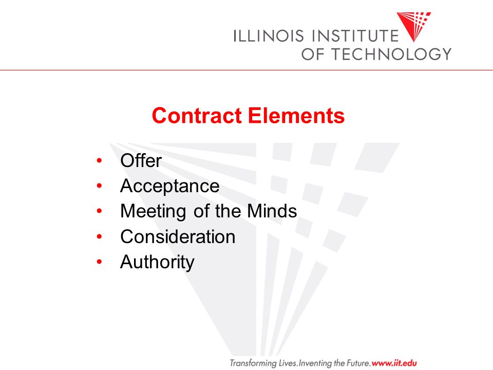 Contract Elements Offer Acceptance Meeting of the Minds Consideration