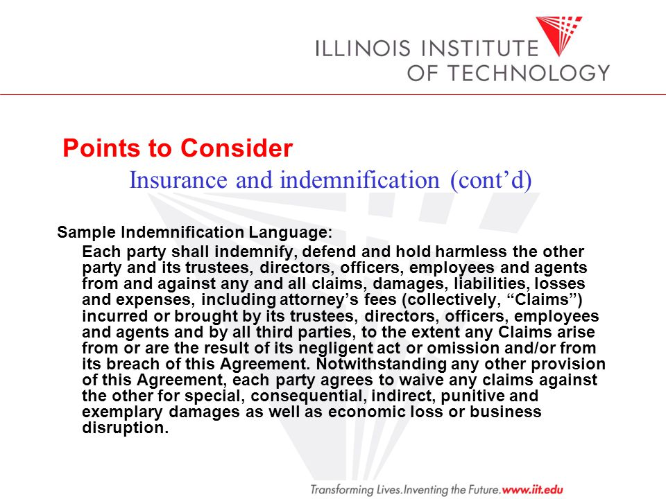 Points to Consider Insurance and indemnification (cont'd)