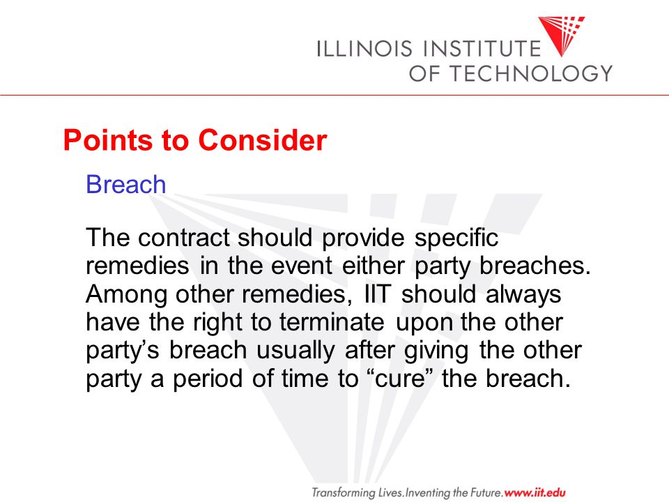 Points to Consider Breach.