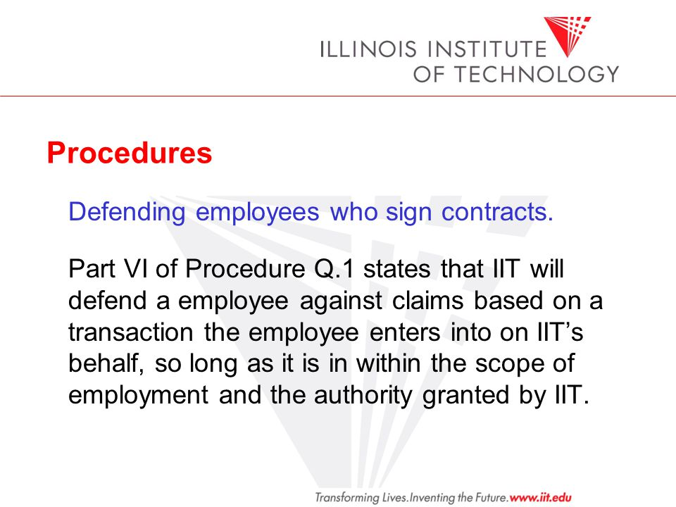 Procedures Defending employees who sign contracts.