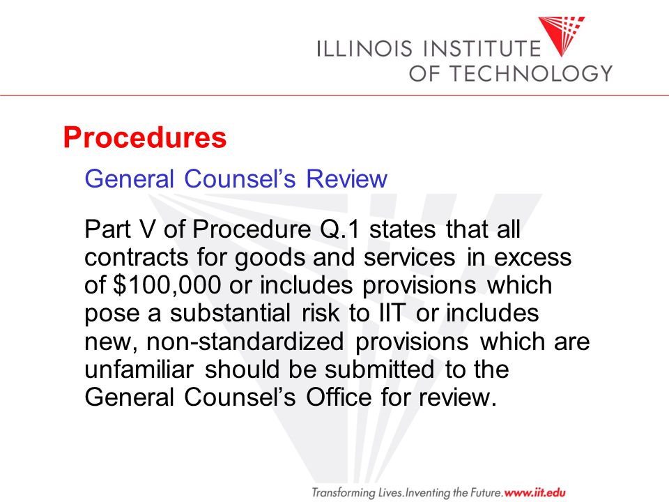 Procedures General Counsel's Review.