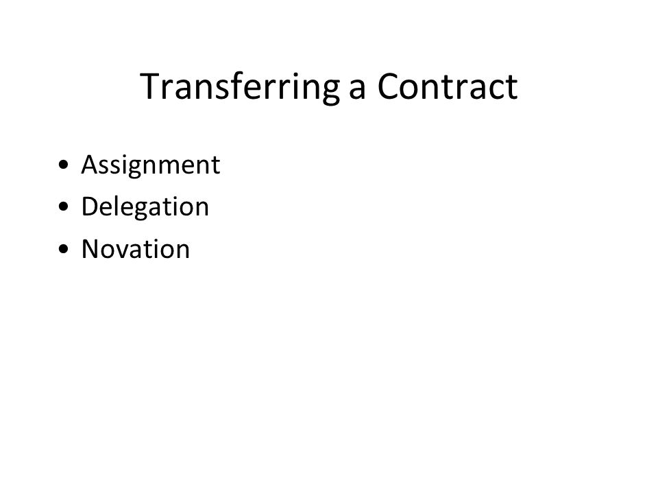 Transferring a Contract