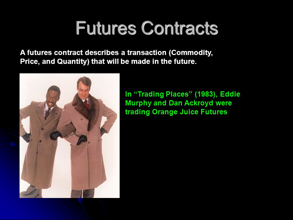 Futures Contracts A futures contract describes a transaction (Commodity, Price, and Quantity) that will be made in the future.