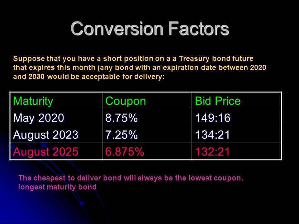 Conversion Factors Maturity Coupon Bid Price May 2020 8.75% 149:16
