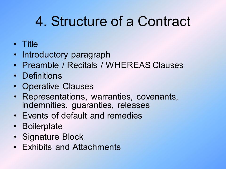 4. Structure of a Contract