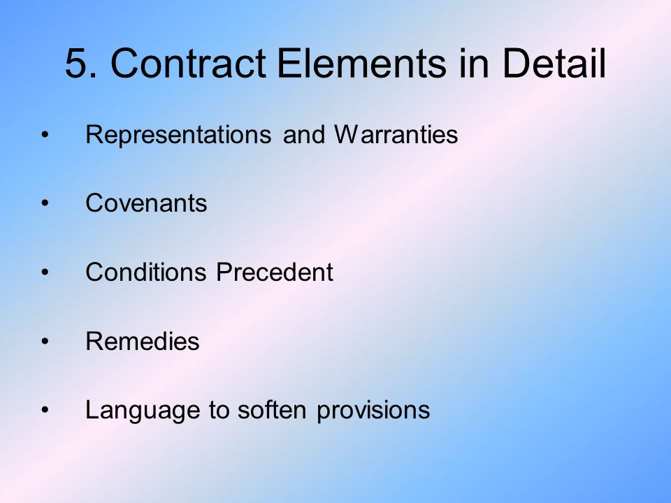 5. Contract Elements in Detail