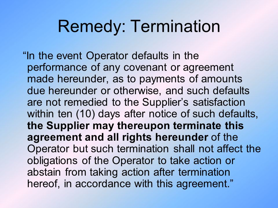 Remedy: Termination