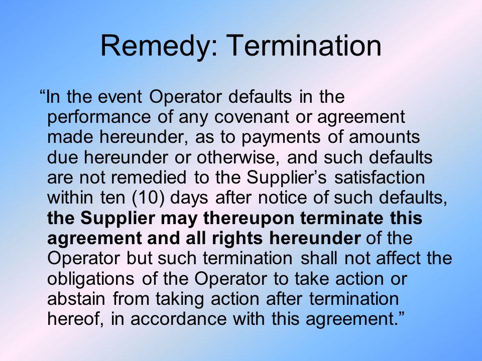 Remedy: Termination