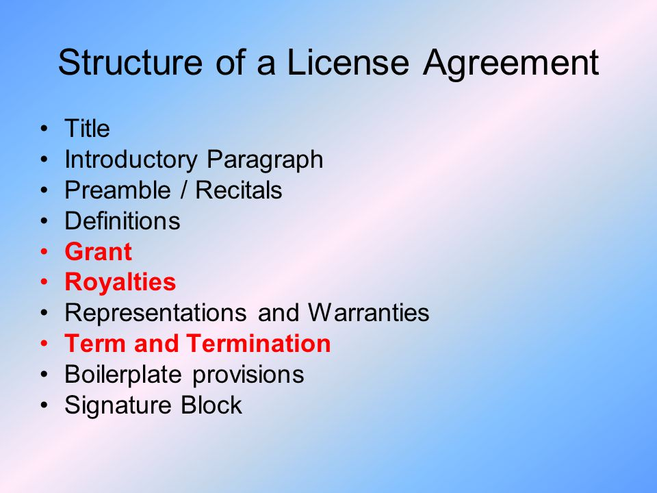 Structure of a License Agreement
