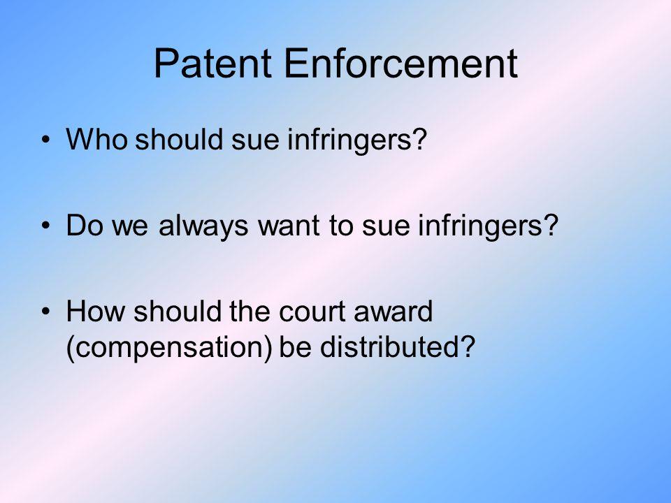 Patent Enforcement Who should sue infringers